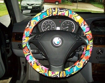 Custom 80's Colorful Abstract Steering Wheel Cover