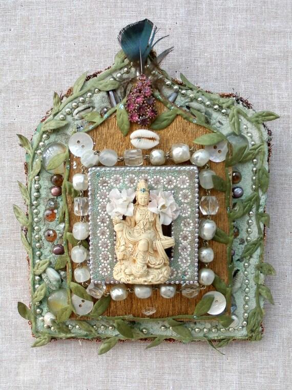 Quan Yin sacred mixed media Altar mosaic wall art home decor