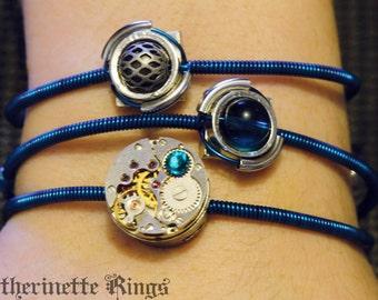 Cyber-steampunk - 3 Bracelets - Peacock Blue