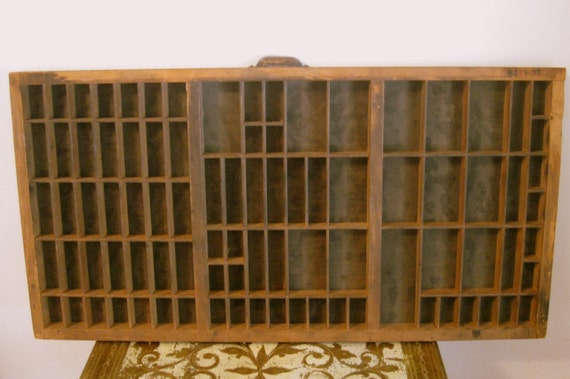 Antique Wood Letterpress Drawer Industrial Authentic Tray for Shadow Box or Craft Organizer