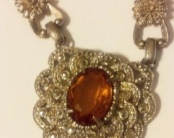 Vintage Art Deco Citrine and Marcasite Necklace Silver Tone