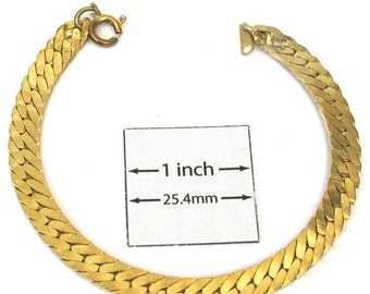 24K Gold  Plated Metal 7.25 inches (18.5 cm)  Flat Twisted Chain Bracelet, A073B