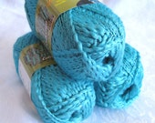 worsted weight Wool silk blend yarn with metallic fiber, TURQUOISE SWTC Vegas