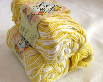 yellow and white Cotton Yarn,  SUNSHINE OMBRE, Creme de la Creme worsted weight