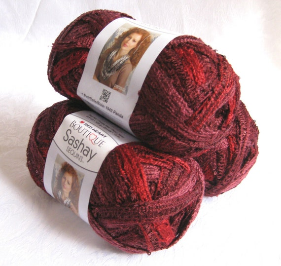 Red Heart Sashay Sequins Yarn Cabernet Ruffling By Crochetgal