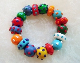 Multicolored Bracelet, Dot Beads, Mix Colors Beads ,Cheerful Jewelry