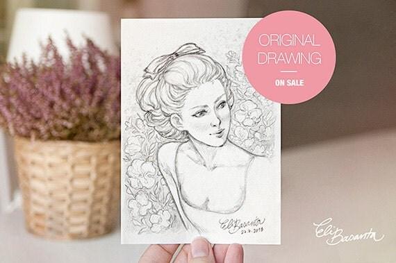 ANNABELLA - Dibujo Original - Ilustración a lápiz . Obra única