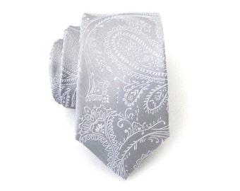 Mens Tie. Silver Gray Tie. Necktie Gray Paisley Skinny Mens Tie