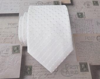 Mens Tie White Tonal Dots Necktie
