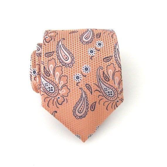 Necktie Peach And Blue Paisley Mens Tie