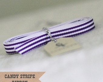 Grape Candy Stripe Ribbon 4 yards