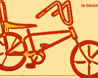 LA BICICLETA  12x18 Art Print by Giraffes and Robots