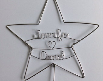 Star Wedding Cake Topper, Personalized