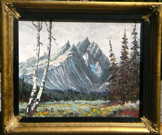 Vintage Grand Tetons Wyoming Keith Fay Oil Painting