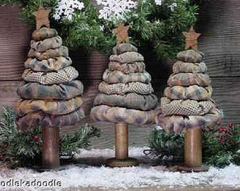 Primitive Christmas Yo Yo Trees 3 Sizes Instant Digital Download E-Pattern ET