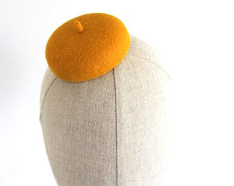 Mini Mustard French Beret Cocktail Hat Millinery Fascinator
