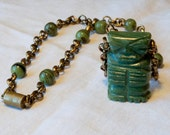 Vintage Necklace - Tiki Man Necklace - Repurposed, Recycled, Retro, Vintage - Green Glass Statue Necklace