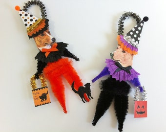 Basenji HALLOWEEN Trick or Treat vintage style CHENILLE ORNAMENTS set of 2
