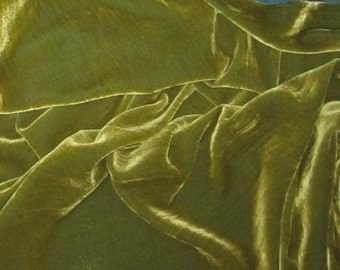 YELLOW GREEN Silk Velvet Fabric -1 yard