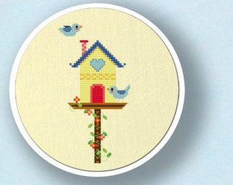 Sweet Bird House. Modern Simple Cute Counted Cross Stitch Pattern. PDF File. Instant Download