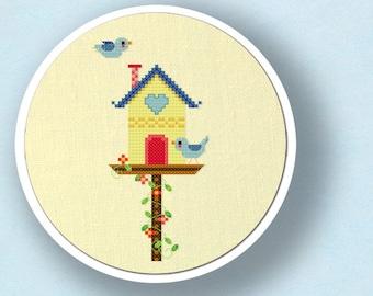 Sweet Bird House. Cross Stitch Pattern. PDF File