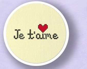Je T'aime - French I Love You Cross Stitch Pattern PDF Instant Download