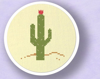 Blossoming Cactus. Modern Simple Cute Counted Cross Stitch Pattern PDF File. Instant Download