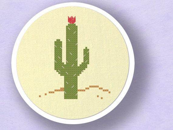 Blossoming Cactus. Cross Stitch Pattern PDF File