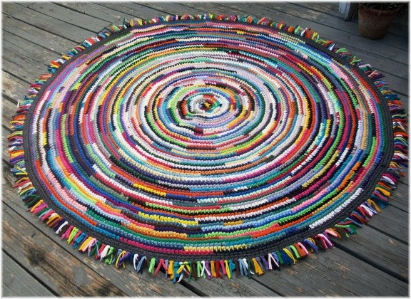 Rag Rug 70 Inches Large Round Multi Color With Tassels 5