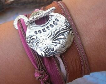 Teen Girl Jewelry Gift, Teenager Bracelet, Unique Jewelry Gift, Courage, Silk Wrap Bracelet, Fine Silver Inspirational Bracelet Gift for Her