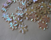 New Item -- 7g of 15 mm 6 Petals Flower Sequins in Iris Eggshell Color