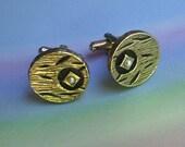 Vintage 60s Modern Cufflinks Gold Black