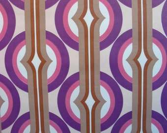vintage wallpaper - pink and purple interrupted circles - per yard