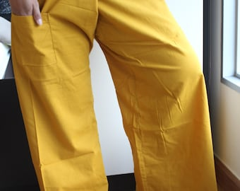 Mustard CotTon Thai Fisherman Wrap Pants PERFECT for All SiZe