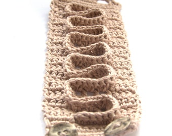 Textile Bracelet crochet cappuccino beige cotton wrist cuff handmade Birthday summer gift for her Mother Thanksgiving