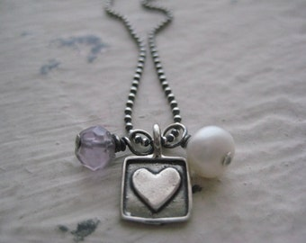 Loving Heart Necklace- Sterling Silver Oxidized, Heart Charm, Freshwater Pearl, Pink Amethyst, Rustic