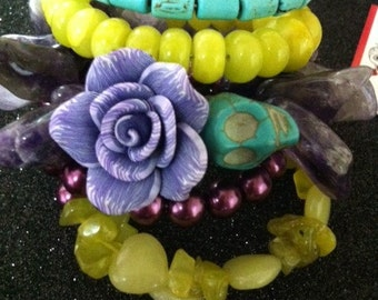 Beautiful Day of the Dead Rockabilly Lemon Jade Turquoise Polished Agate and Pearl Bracelet-Every Design Tells A Story-