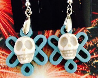 Day of the Dead Día de los Muertos Sugar Skull Gemstone Earrings-Every Design Tells A Story-