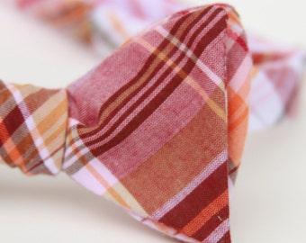 wine plaid freestyle bow tie