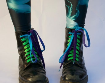 Green/Turquoise/Purple Shoe Laces-Extra Long