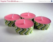 Tea Light Candles, Watermelon Scented, soy wax, 4 pack, decorated, pink and green, stripes