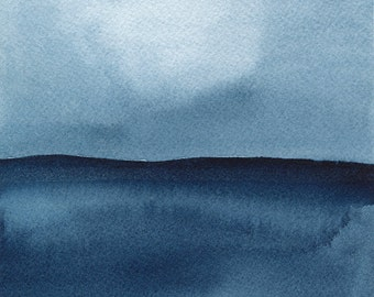 Archival print of watercolor painting, Evening on Superior, 4 x 4 or 8 x 8 inches