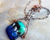 Seaside Cliffs dichroic glass and copper necklace