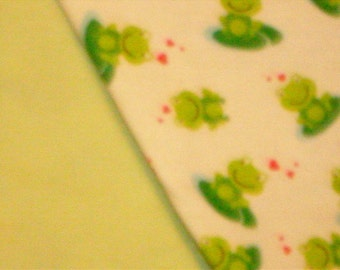 Flannel Baby Blanket with Frog Print