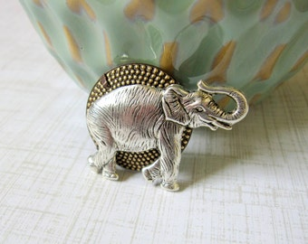 Elephant Brooch, Zoo Animal, Zoo Brooch, Elephant Pin, Silver Elephant, Animal Brooch, Animal Pin, Gifts for Her, Elephant Collector