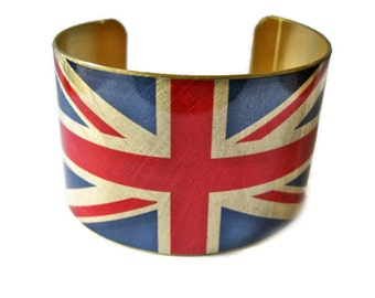 United Kingdom FLAG cuff bracelet UK British Union Jack Heritage Gifts for her