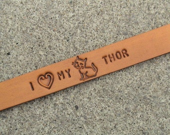 Personalized - I (heart) MY (horse, dog, cat, mouse) NAME - 5/8 inch wide leather wristband