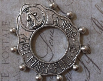 World War II Era Prayer Tenner Rosary Ring Hail Mary Full Of Grace With Crucifix, With Blessed Virgin Mary Mother Of God