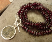 Red Garnet necklace with an antique Roman coin pendant, Statement necklace, January birthstone necklace, Garnets strand necklace