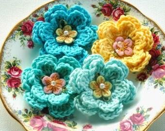 Crochet Flowers Blue Aqua Lemon Yellow